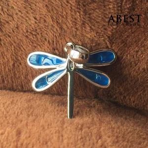 China Fashion 925 Sterling Silver Dragonfly Shape Color Enamel Pendant Gift Design on sale