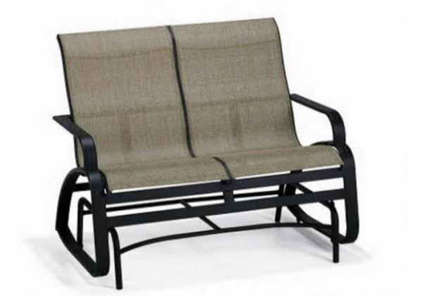 Double Seat Folding Patio Furniture Sling Glider Bench Stainless Steel Images