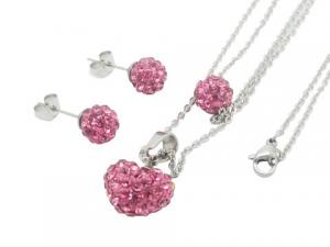 China Silver Heart Pendant Necklace Stainless Steel Jewelry Set With Disco Ball Stud Earrings on sale