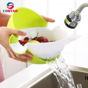 China Double Round Rotation Plastic Draining Basket,Multifunctional Washing Bowl Strainer Colander Basin for Fruits Vegetable on sale