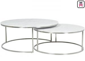 Custom Made Double Round Stainless Steel Coffee Table Marble Top
