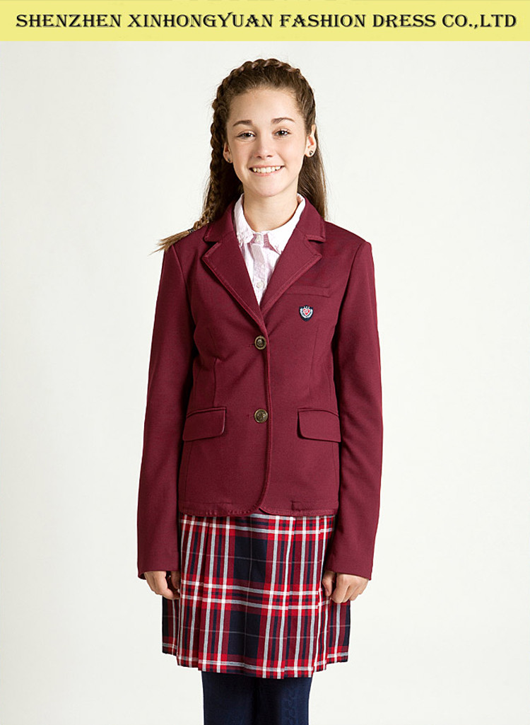 Classic Uk Style High School Uniforms Red Coat Checker Skirt For