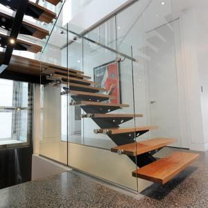 China Stainless Steel Glass Straight Staircase Price / Residential Steel Glass Stairs on sale