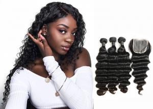 China Double Sewed Weft 8A Virgin Brazilian Hair Extensions Deep Wave With Frontal on sale