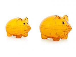 China Small Orange Transparent Piggy Bank For Kids Coin Saving Lightweight on sale