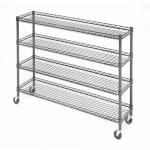 4 Tier Metal Rolling Cart With Wheels With Baskets For Retail Storage 5 X 18 X 21