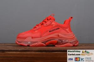 China 2019SS BALENCIAGA TRIPLE S VINTAGE DADDY SHOES RED BEST SNEAKER on sale