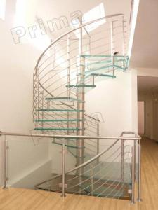 China Prefabricated Stainless Steel Glass Staircase on sale