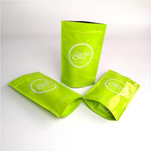 China Custom Printed Recyclable Kraft Paper Bag Green Tea Packaging SGS / FDA Approval on sale