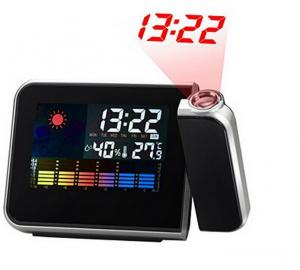 China Digital LCD Clock Snooze Alarm Clock Temperature And Humidity Meter Color Display LED Backlight Desktop Clocks Projector on sale
