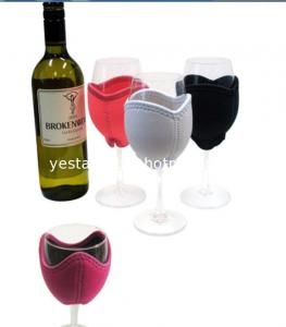 China Decorative 3mm neoprene wine glass cooler with embroidery monogram logo on sale