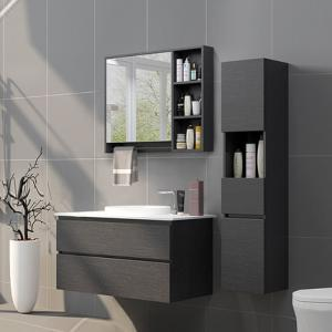 Simple Style Modern Bathroom Vanities Curved Door Panels Open