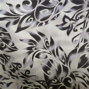 China Dyed Polycotton Fabric 90% Polyester 10% Cotton 100gsm Black Flower Pattern on sale