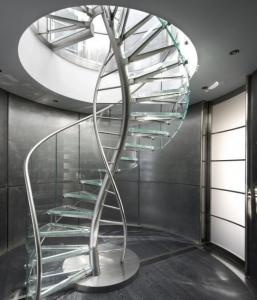 China Prefabricated Stainless Steel Spiral Staircase Easy Installation With Glass Railing on sale