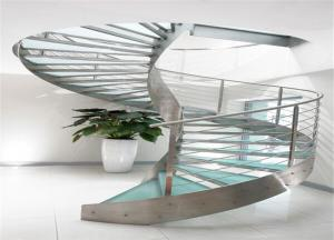 China High quality stainless steel glass staircase arc staircase stairs for villa on sale