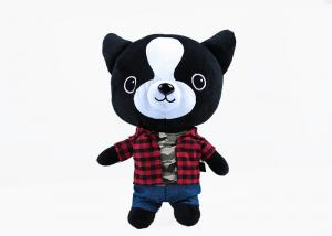 China 30 cm soft short pile plaid shirt with jeans huggable dog kids plush toy on sale