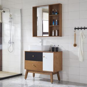 Three Colors Timber Top Bathroom Vanity Modern Design With Mirror
