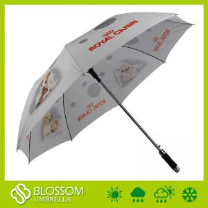 China Customer Printing Design Fiberglass Windproof Manual Open Golf Umbrella on sale