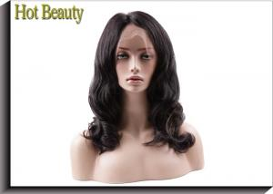 China Glueless Human Hair Full Lace Wigs Body Wave , Bleached Knots Real Hair Wigs supplier