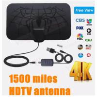 China Indoor 1500 Miles Digital Antena TV Aerial Amplified HDTV Antenna 4K DVB-T2 Freeview Isdb-Tb Local Channel Broadcast on sale