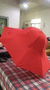 China Special Shape Cap Red Large Collapsible Umbrella With Black Steel Frame on sale