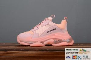 China BALENCIAGA TRIPLE S 2019SS VINTAGE DADDY SHOES PINK 2019 BEST FASHION SNEAKER on sale