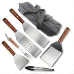 7PCS Teppanyaki Tool Set With Wooden Handle or Picnic Accessories For BBQ Tool