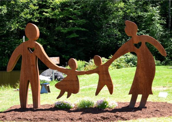 Garden Art Decor Corten Steel Sculpture Family Parents And
