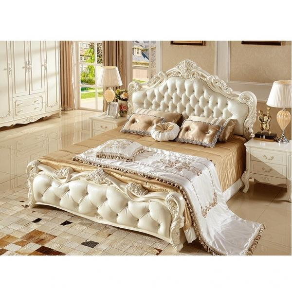 Bedroom Furniture Antique French Style King Size White Leather Wooden Bed For Sale Bed Manufacturer From China 108086733