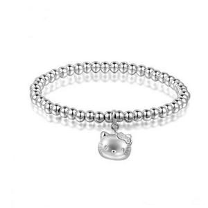 China 5mm Sterling Silver Beads Bracelet with 925 Silver Cat Charm 6.5 inches (B120703) on sale
