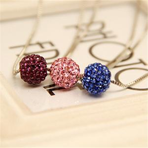 China Costume Fashion Jewelry Channel Xiangbala Round Colorful Imitation Diamond Chain Necklace Pendant Chain Necklace Lady on sale