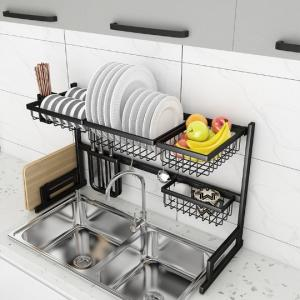 China Stainless Steel 91cm Long 2 Tier Dish Drainer Over Kitchen Sink on sale