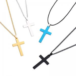 China Hot stainlesss steel gold/rose gold/silver/gunmetal plated cross pendant necklace for men on sale