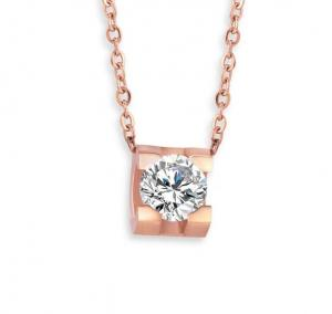 China Stainless Steel Jewelry Fashion Pendant Necklace Diamond Round Pink Gold Necklace on sale