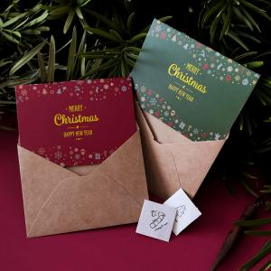 China Colorful Chrismas Custom Foil Greeting Cards With Envelope Sticker on sale