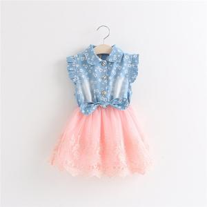 China New baby girl's denim shirt with tutu lace dress splice dress on sale