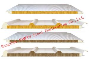 China 950mm Width Fire Resistant Mineral Wool Sandwich Wall Panels Durability and Long Life Time on sale