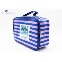 China Pink / Blue Stripe Soft PVC Bags Blue Zipper With Two Metal Heads Reusable Design on sale