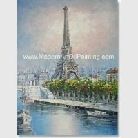 China Impression Paris Oil Painting Paris Street Stretching Frame One Panel Office Deco on sale