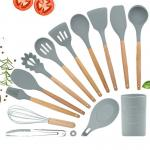 13Pcs Non Stick Silicone Spatula Set With Wooden Handle