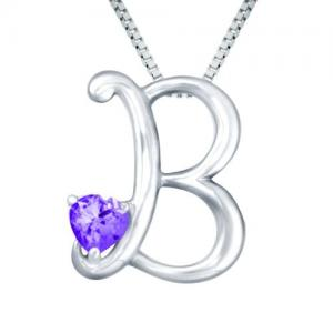 China Custom unique amethyst letter b pendant prong sterling silver initial charms for gilrs  on sale