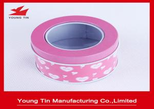 China Small Metal Tinplate Plain Round Gift Tin Boxes Hinged Clear PVC Top Lids on sale