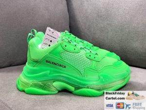 China BALENCIAGA TRIPLE S 2019SS VINTAGE DADDY SHOES GREEN BEST SELLER on sale