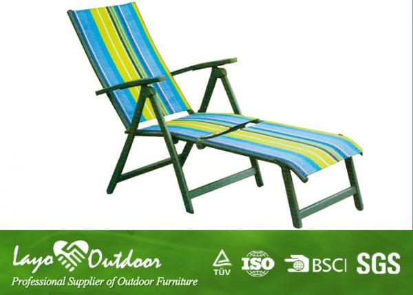 Patio 5 Position Beach Chair With Footrest Sling Fabric Chaise Lounge Outdoor Images
