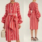 2018 Women Clothes Gathered Bell Sleeves Striped Midi Design Fashion Dresses For Women 2018