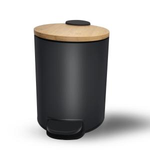China 3L 5L Small Round Fingerprint-Proof Black Metal Step Trash Can with Bamboo Lid on sale