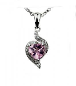 China Lady 925 Sterling Silver Heart Pendant micropave setting With Pink , White Stone For Gift IP1157 on sale