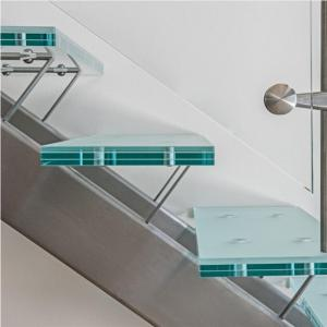 China Modern Interior Mono Stringer stairs / Laminated Glass Treads Stainless Steel round Staircase on sale
