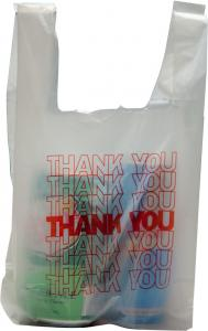 China Ldpe hdpe clear  thank you t shirt plastic shopping grocery take-out poly bags with logo printing on sale