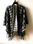 Womens's fashion jacquard poncho with tassel long sleeve sweater Lady's plaid sweater